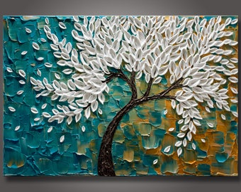 """Large 24""""x36""""x1.5"""" Original Abstract Blossom Tree Painting  Palette Knife Impasto Textured Gallery Stretched Canvas Ready to Hang - FREE S&H"""