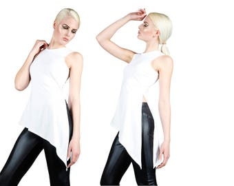 Asymmetrical Top w. Slit in White, Minimalist Fashion, Scandinavian Design, Dance Wear, Burning Man, Coachella, by LENA QUIST