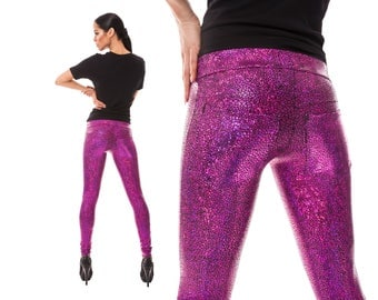 Hot Pink Jeans Back Leggings, Holographic Spandex Pants, Burning Man, Festival Clothing, Meggings, Dance Costume, Stage Wear, by LENAQUIST