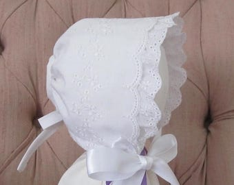 ON SALE Small Baby Easter Bonnet, Baptism Bonnet, Dedication Bonnet,  Ruffled Eyelet Bonnet,Sunbonnet ,Cotton Bonnet, Baby Hat, Christening