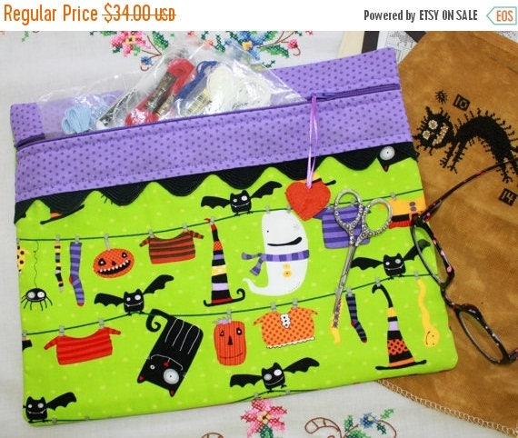 SALE Witchy Wash Day Green Cross Stitch, Sewing, Embroidery Project Bag