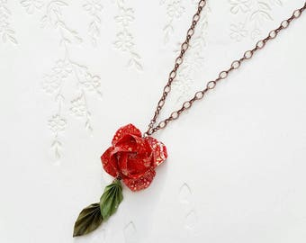 Japanese Origami Jewelry - Origami Rose Necklace with Origami Leaves & Copper Toned Brass No.03466