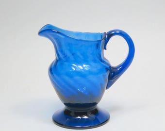 Vintage Hand Blown Cobalt Blue Glass Footed Creamer Pitcher, Primitive Blue Swirl Glass Pitcher, Blue Swirl Glass Pitcher, Blue Pitcher