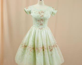 50s Dress * 1950s Dress * Mint Green Dress * 50s Full Skirt Dress * Rockabilly Dress * Floral Embroidered Dress * 50s Prom Dress