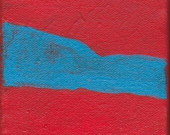 ON SALE Original Contemporary Abstract Painting 4 x 4 inches Artist with Autism Red Blue Wall Decor Art Design