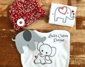 Elephant Embroidered Baby Gift Red and Gray, Crochet Newborn Red Gray Hat, Elephant Unique Baby Gift, Gender Neutral Baby Gift Elephant