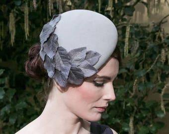 Grey Felt Hat with Grey Fabric Leaves, Grey Peachbloom Felt Hat, Grey Felt Cocktail Hat, Grey Felt Percher Hat, Grey Felt Formal Hat
