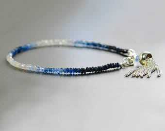 Ombre Sapphire Bracelet by Agusha. Shaded Blue Sapphire Bracelet with Sterling Silver Tassel