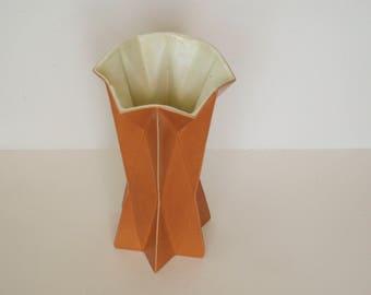 Tall 1960's Belle Kogan Prismatique Star Vase - Mandarin and Cream - 797 - Red Wing Pottery