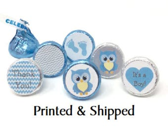 Printed 324 Blue & Yellow Owls Baby Shower Stickers for Chocolate Kiss® With Blue and Grey Chevron for Party Favors