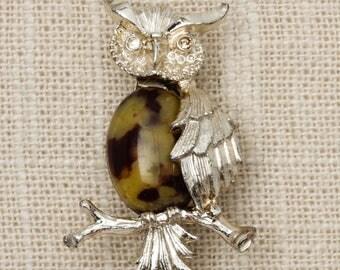 Owl Brooch Vintage Brown Tan Cabachon Silver Gerrys Broach Vtg Pin 7T