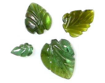 Four Green Tourmaline Hand Carved Leaf Cabochons