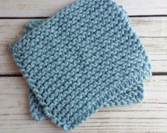Baby Blue Washcloth, Two Baby Washcloths, Cotton Washcloth, Knit Washcloth, Knit Wash Rag, Luxe Washcloth, 2 Pack Washcloth, Bathroom