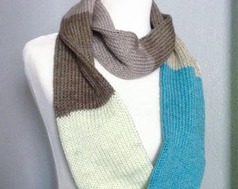 Blue Infinity Scarf, Long Infinity Scarf, Knit Infinity Scarf, Color Block Scarf, Adult Women Scarf, Fall Scarf, Long Circle Scarf
