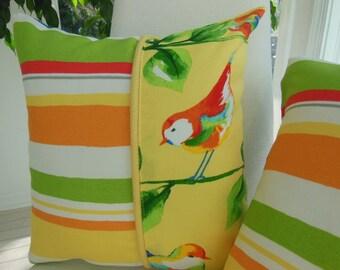 Outdoor Pillow - Bird Pillow - Yellow Pillow -Summer Pillow - Blue Pillow - Stripe Pillow - Orange Pillow - Indoor Outdoor Home Decor Fabric