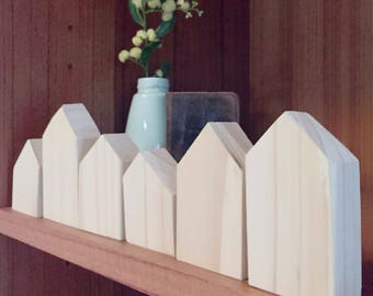 Little Wooden Houses - Set of Six