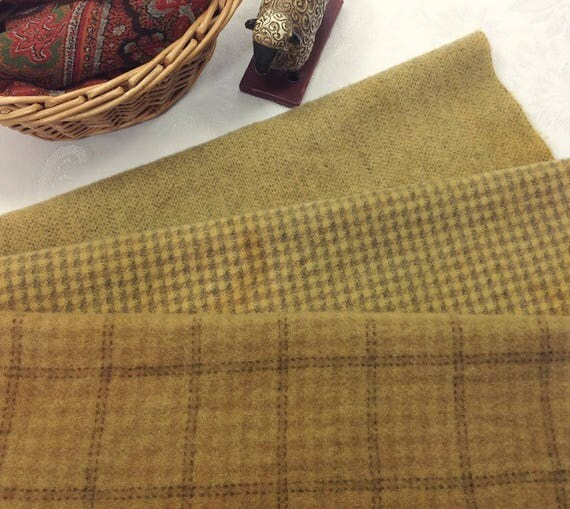 3) Fat 1/8ths, Wheat Fields, Hand Dyed Wool for Rug Hooking and Applique, W387, Country Gold, Old Gold, Harvest Gold