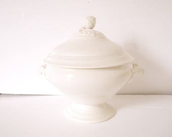 French Soup Tureen ironstone stonewear white ironstone french porcelain sarregamines-digion-Jeanne d'arc living
