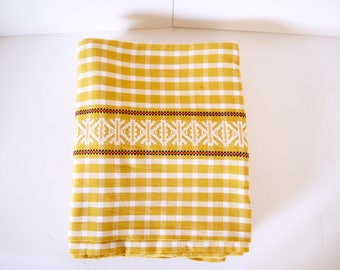 French Provençal Yellow,red, Black Gingham Tablecloth