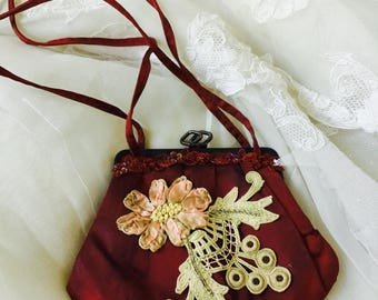 NEW - Vintage Brown Satin Small Purse with Embroidery