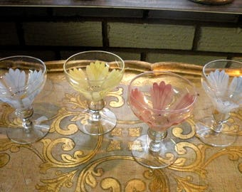 Antique  Sherry Glasses- Hand Painted Glasses Floral- Pink Glasses, Yellow Glasses, Blue Glasses - Set of 4  Glasses