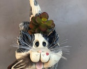 Cat planter, cat sculpture, cat figurine, hand made cats, hand sculpted cats original by Pencepets, Pence Animal Sculptures