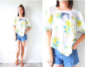 20% OFF JULY 4th SALE Vintage floral navajo blouse // Mexico lace crochet hippie top // festival style top // yellow floral boho top // bohe