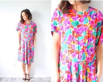 30% OFF SALE Vintage pink floral large romper // pink floral jumper dress // neon mini dress // flower child // fall floral dress // romper