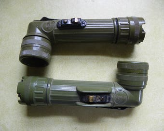Vintage • GT Price & Fulton Military Angle Head Flashlight Set | US MX-991/U Vietnam Era Olive Green Tactical Army Soldier Tool | usa
