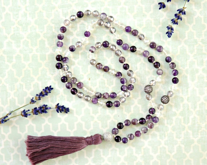 amethyst and clear czech glass mala beads, purple tassel necklace, handknotted necklace, meditation necklace, boho style necklace, tassel