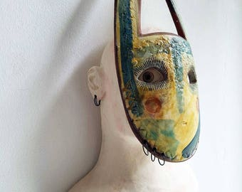 The Gatherer-original ceramic art-mask-tribal-ceramic sculpture