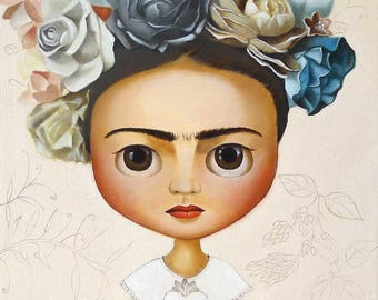 Frida Kahlo Floral Art PRINT Boho Home Decor girl portrait Frida, lowbrow pop surrealism art, big eyes art, print from original oil painting