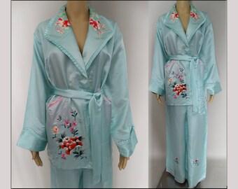 Vintage 1950s Oriental Pajamas | 50s Embroidered Pajamas | Light Blue Pajamas | Asian Oriental Pajamas | Silk Satin Pajamas |