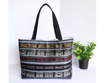 Gorgeous Handcrafted Tote Bag Market Shopper - Woven Ecuadorian Fabric