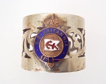 Antique S.S. Britannia Napkin Ring—Anchor Line, Glasgow Passenger Ship Sunk by Nazi Raider Ship Thor 1941 WWII History Silver Plate & Enamel