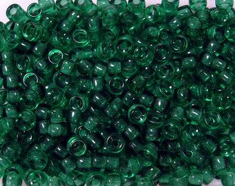 Emerald Czech Glass 9x6mm Pony Crow Roller Large Hole Bead 25pc