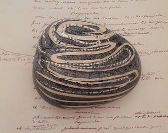 Swirls and Spirals collage on stone, writers gift, desk ornament, paperweight