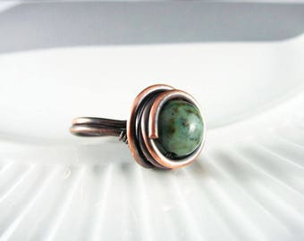 Wire Wrapped Ring Green African Turquoise Ring Copper Jewelry Wire Wrapped Jewelry Copper Ring Copper Wire Wrap Size 7 or 7.5