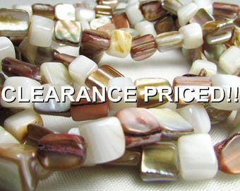 """CLEARANCE! Shell Beads - Drilled Nuggets in Beautiful Shades of Pearl, Brown, Gold and Sand - 4-7mm x 5-8mm, 23"""" Strand"""