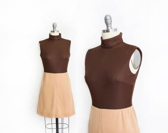 Vintage 1970s Dress - Brown Knit Poly Turtle Neck Sleeveless Mini Day Dress 70s - Small