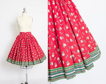 Vintage 1950s Skirt - NOVELTY Print Red Cotton Tropical Boarder Print - Small