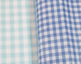 Blue and White Gingham Fabric (Remnant Pieces)