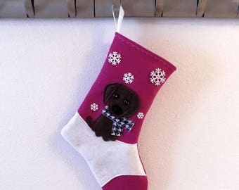 CHRISTMAS IN JULY Chocolate Lab Retriever Dog Personalized  Christmas Stocking by Allenbrite Studio