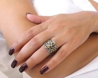 Wedding band for women, Wide wedding band, Wide ring, One of a kind ring