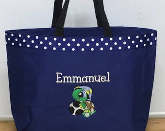 Personalized Baby Turtle Soccer Ball Diaper Bag Tote