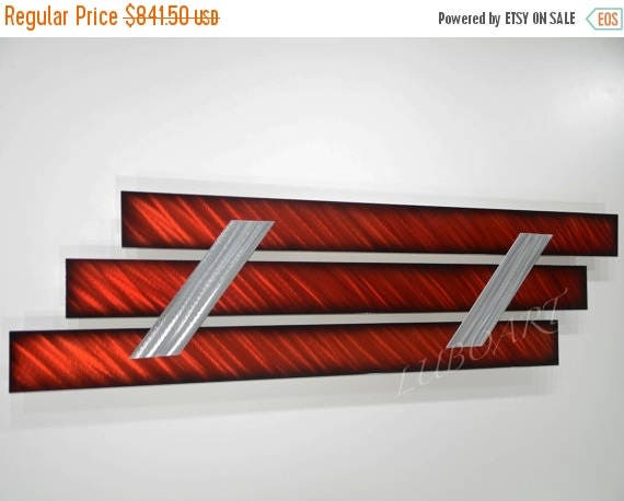 Sale 70 Off Abstract Modern Painting Metal Art Black Red