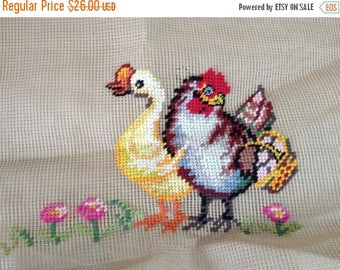 ON SALE Embroidery Work Duck And Chicken Barn Yard Animals