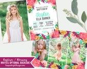 Girls LDS Baptism Invitation - Girls Photo announcement Floral - Baptism Invite - Printable Download