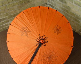Spooky Halloween Parasol, Orange, Black, Paper, Party, Costume, Parasol, Umbrella, Ash Tree Meadow