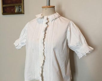 ON SALE Vintage 1900s White Cotton Blouse